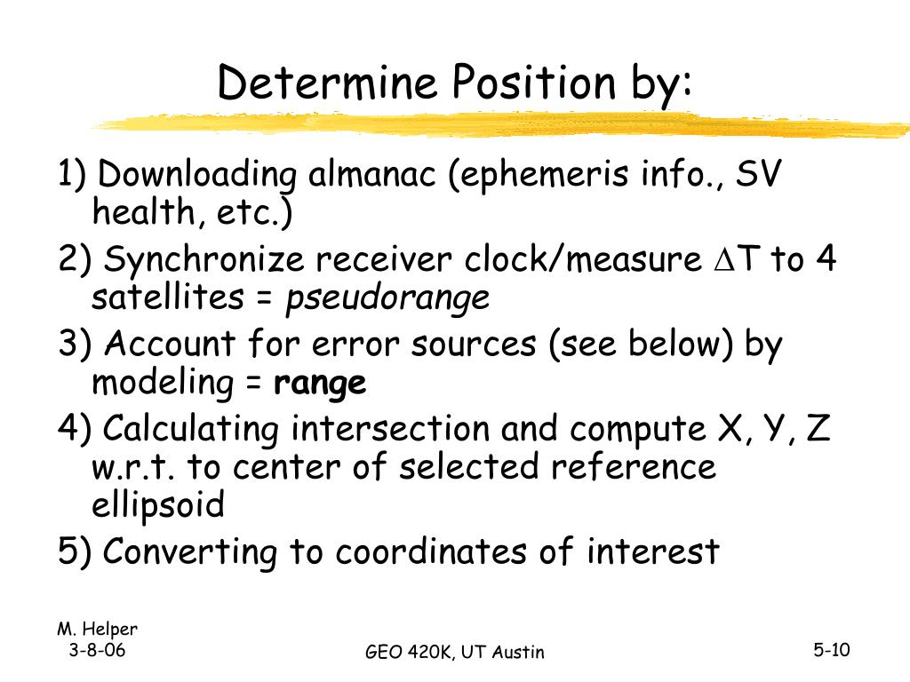 Determine Position by: