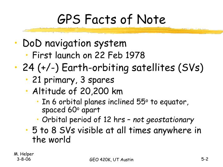Gps facts of note