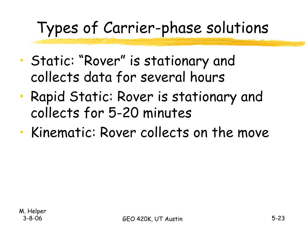 Types of Carrier-phase solutions