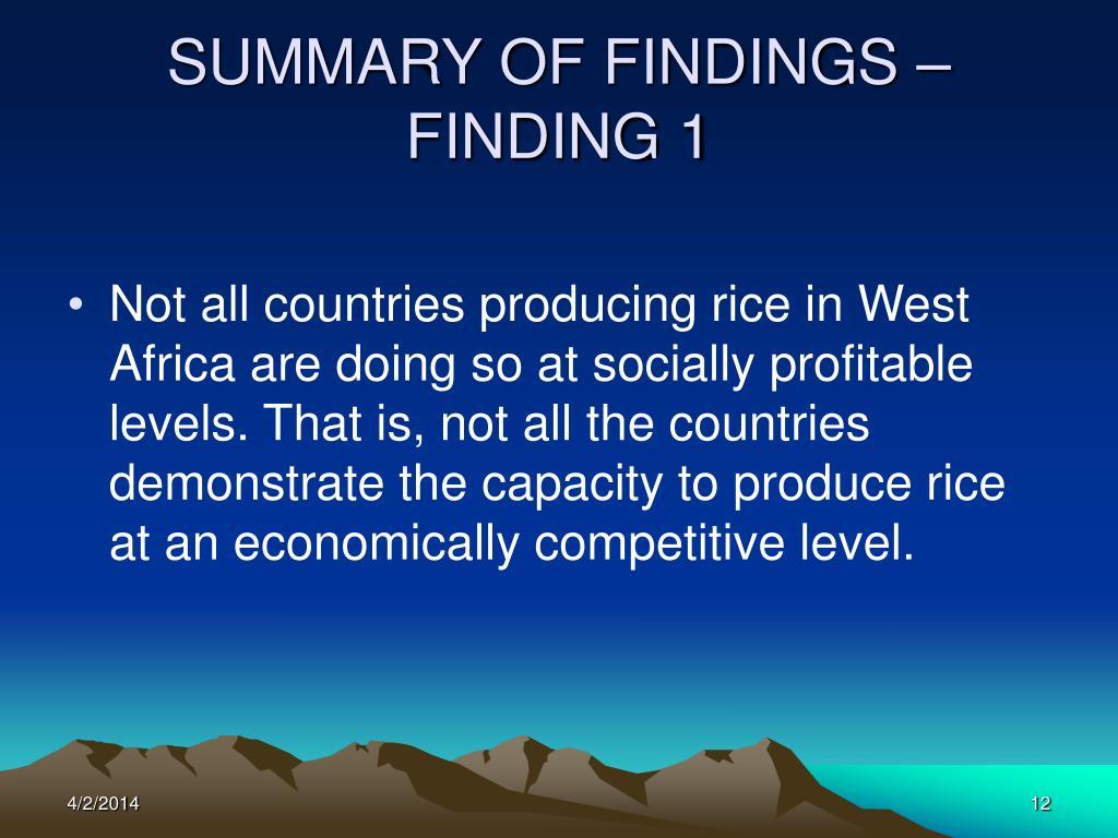 SUMMARY OF FINDINGS – FINDING 1