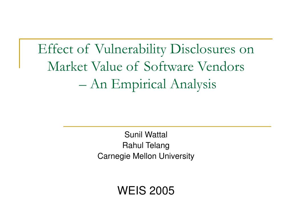 Effect of Vulnerability Disclosures on Market Value of Software Vendors