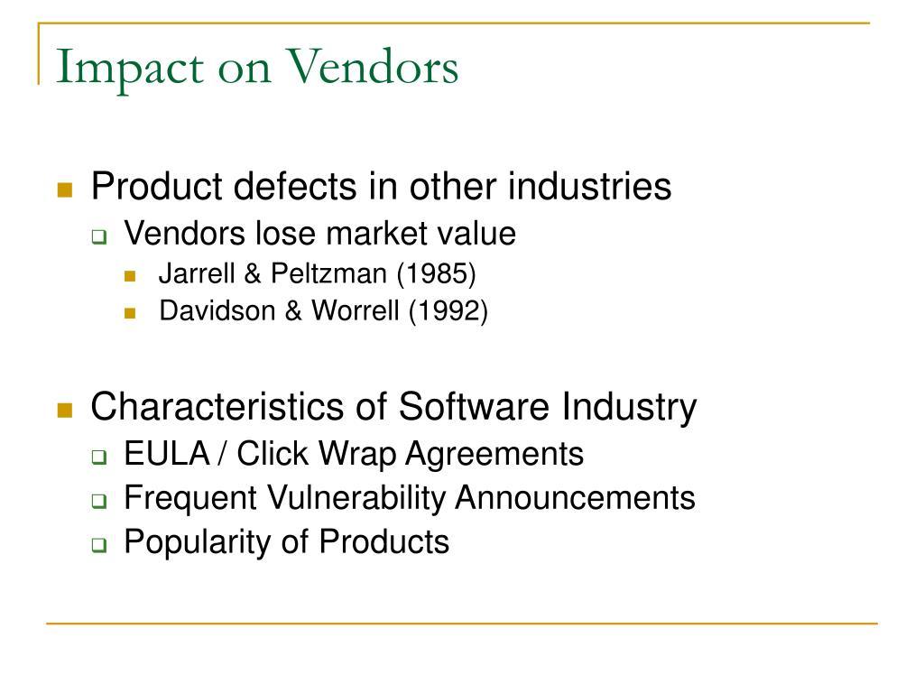 Impact on Vendors