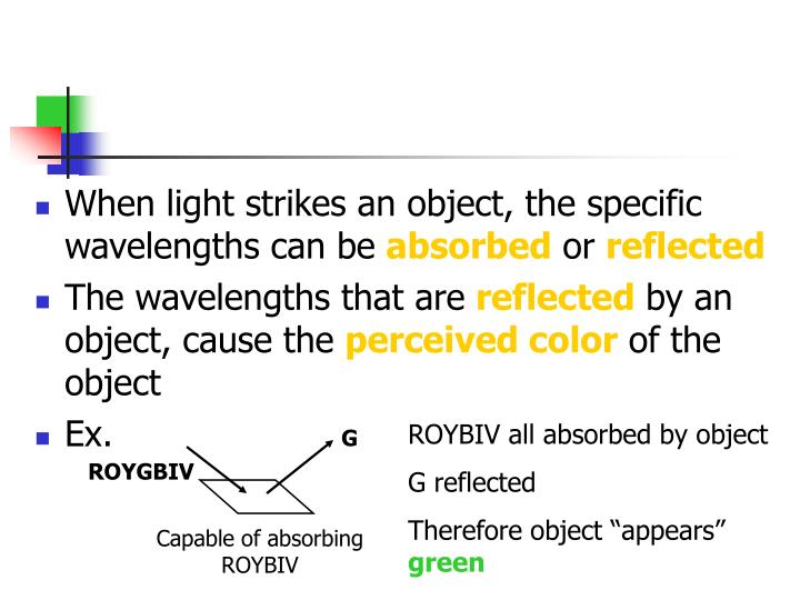 When light strikes an object, the specific wavelengths can be