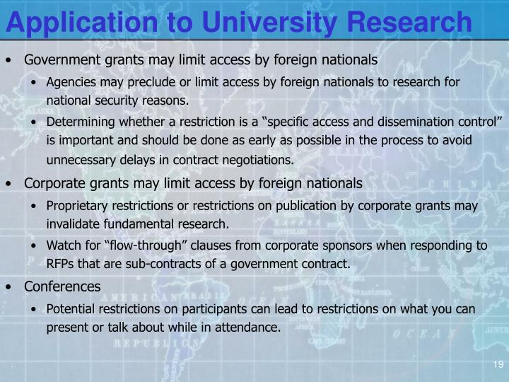 Application to University Research