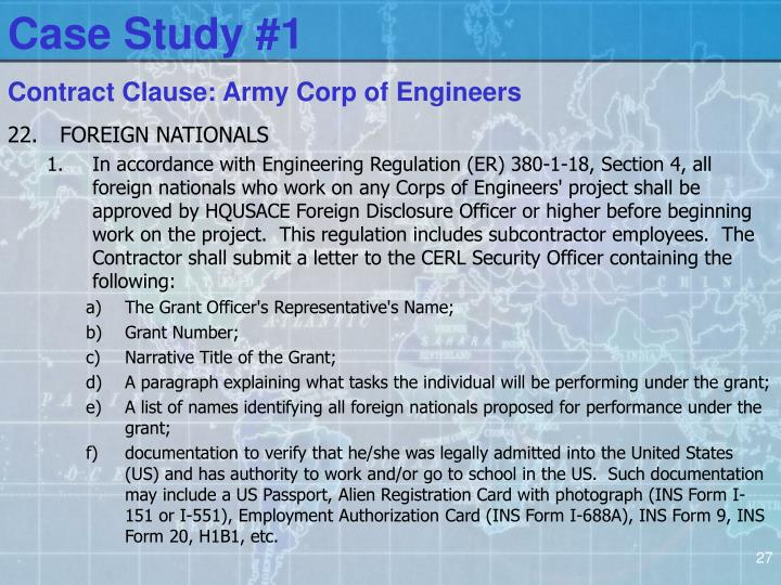 Contract Clause: Army Corp of Engineers