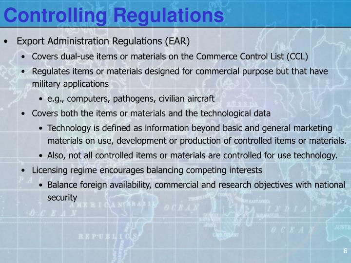 Controlling Regulations
