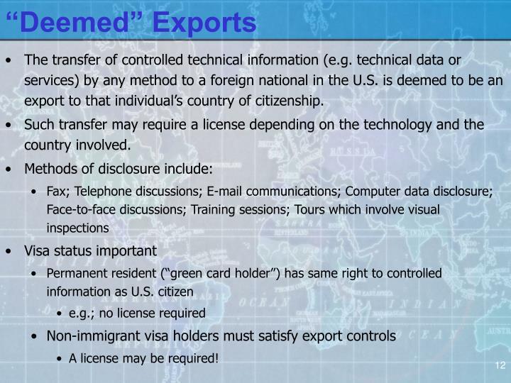 """Deemed"" Exports"