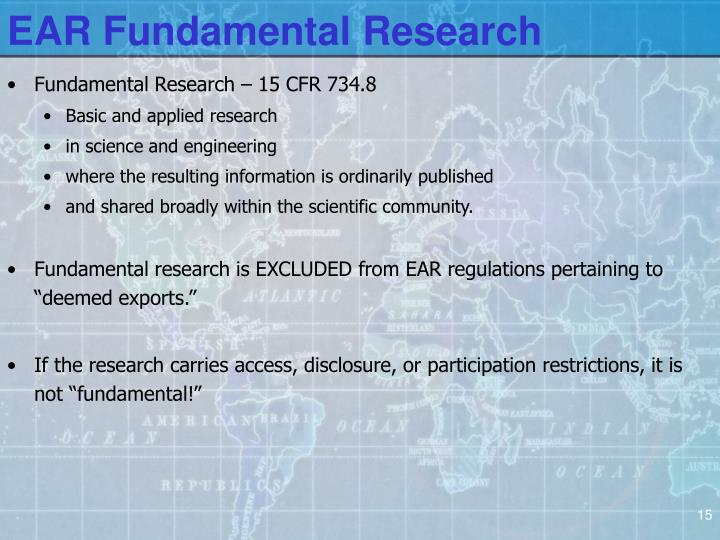 EAR Fundamental Research