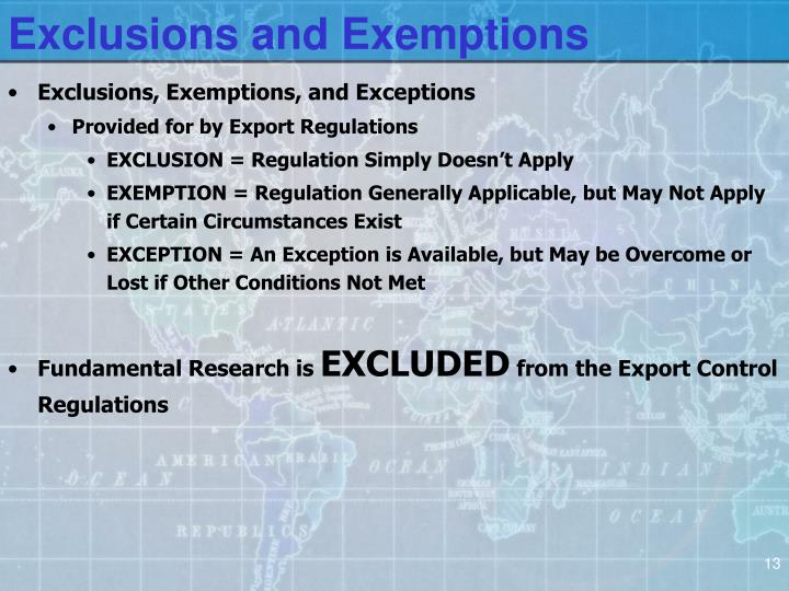 Exclusions and Exemptions