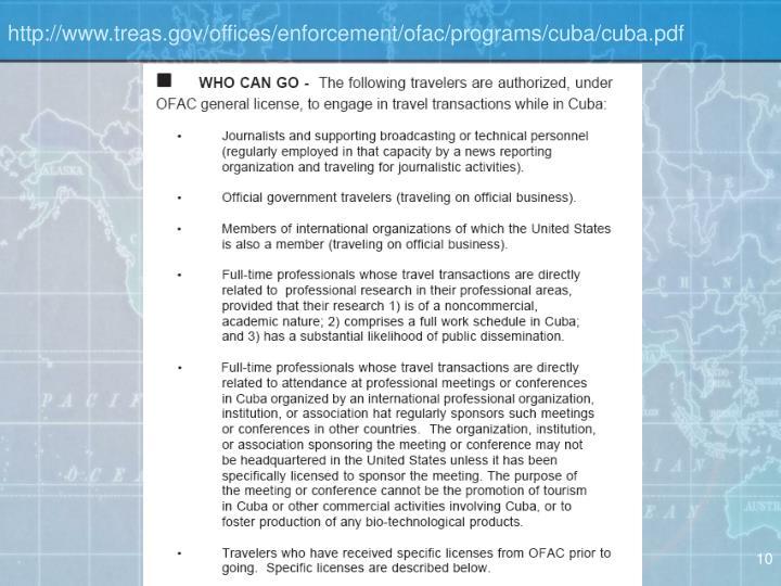 http://www.treas.gov/offices/enforcement/ofac/programs/cuba/cuba.pdf