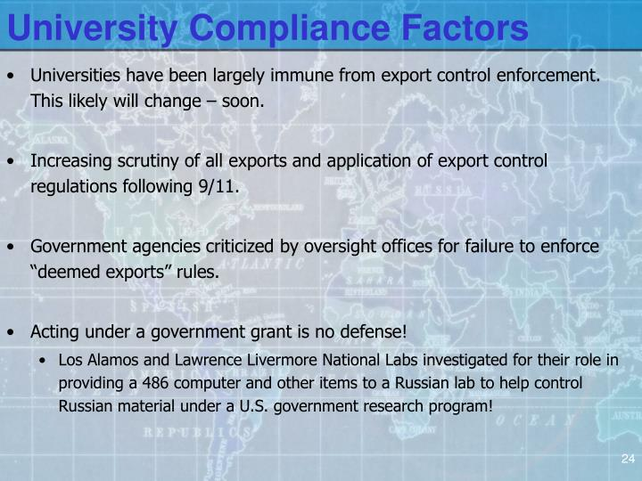University Compliance Factors