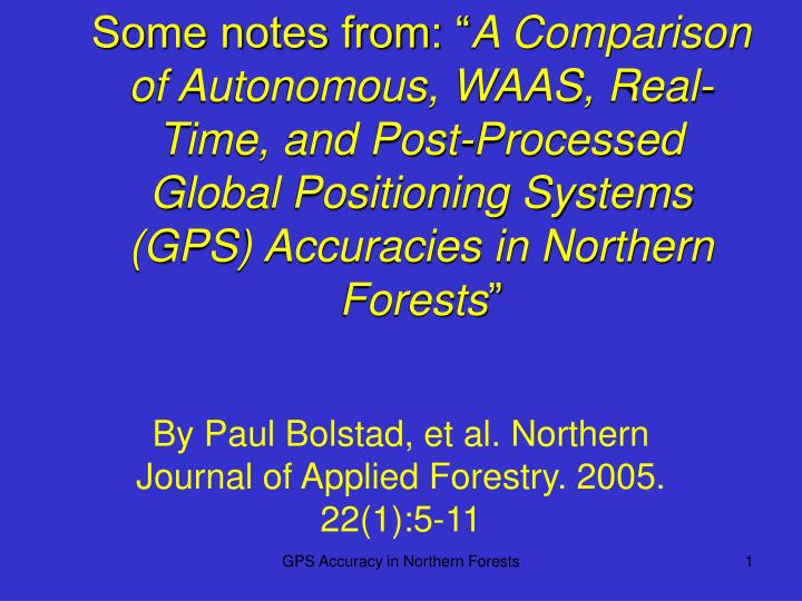 By paul bolstad et al northern journal of applied forestry 2005 22 1 5 11