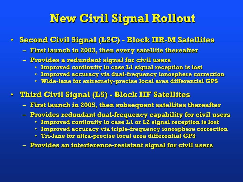Second Civil Signal (L2C) - Block IIR-M Satellites