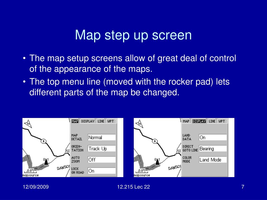 Map step up screen