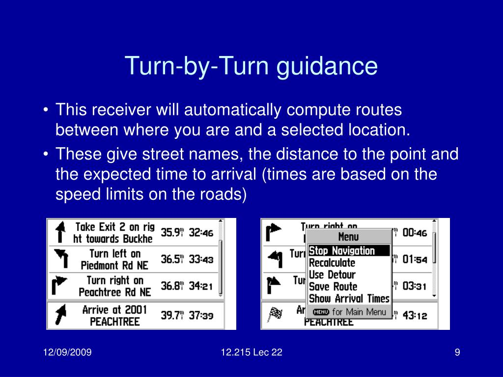 Turn-by-Turn guidance