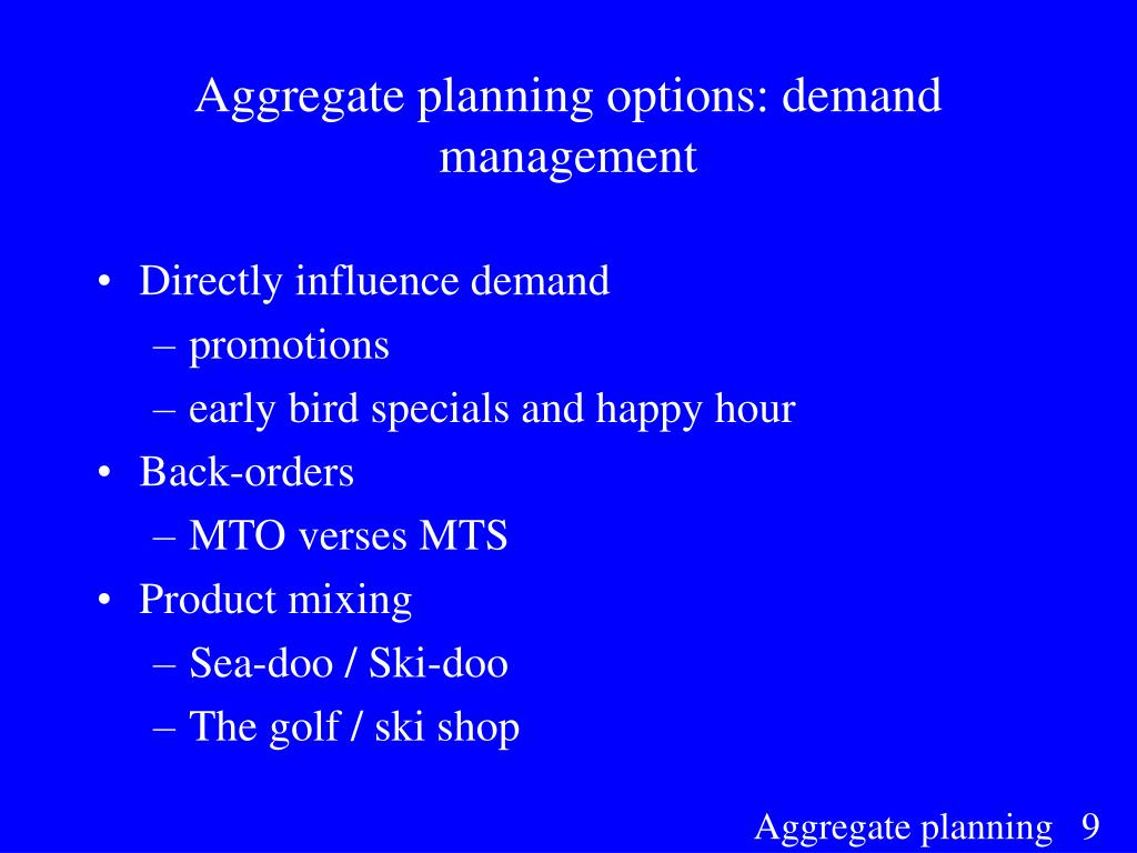 Aggregate planning options: demand management