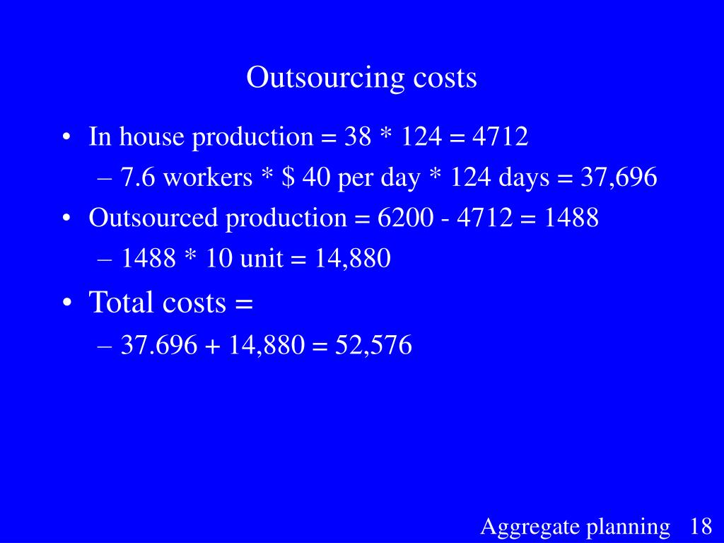 Outsourcing costs