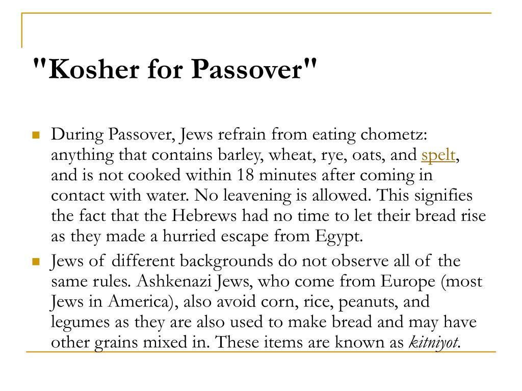 """""""Kosher for Passover"""""""