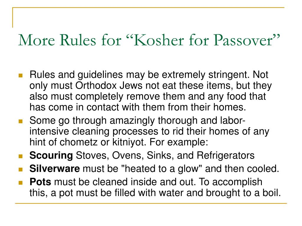 "More Rules for ""Kosher for Passover"""