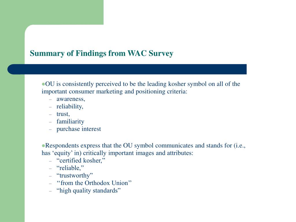 Summary of Findings from WAC Survey