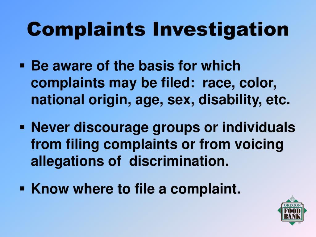 Complaints Investigation