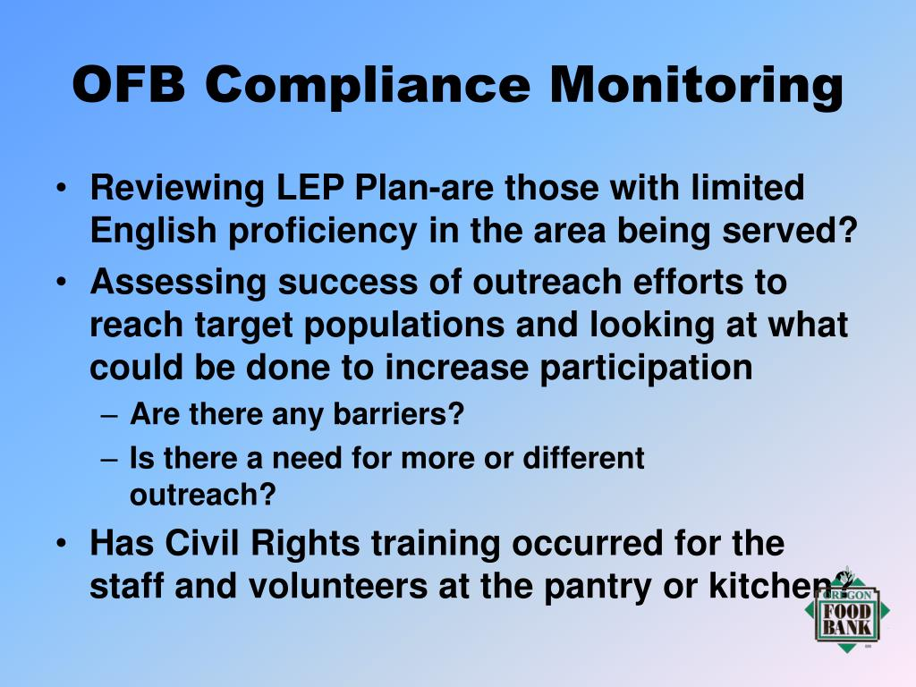 OFB Compliance Monitoring
