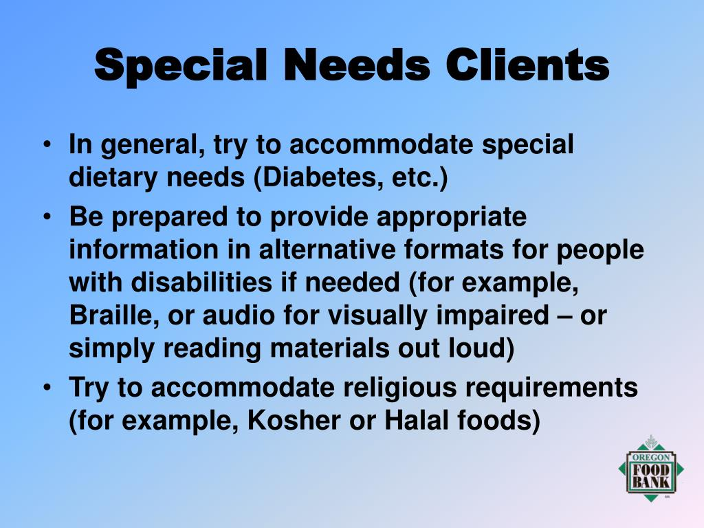 Special Needs Clients