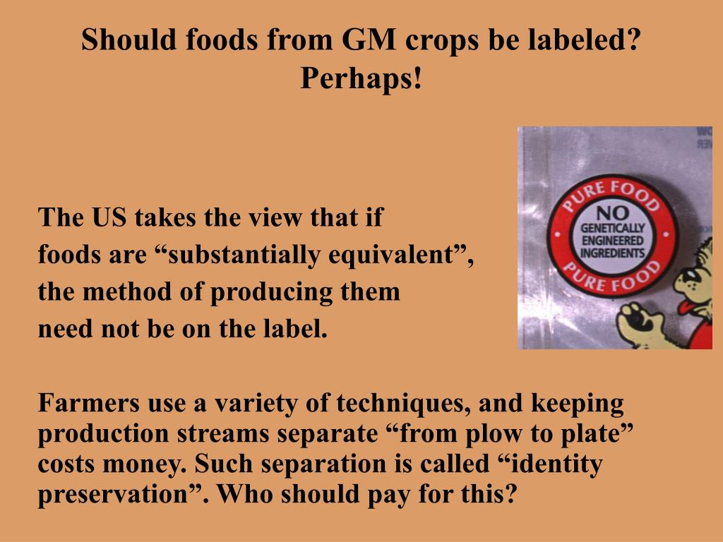 Should foods from GM crops be labeled?  Perhaps!