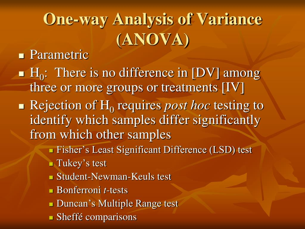 One-way Analysis of Variance (ANOVA)