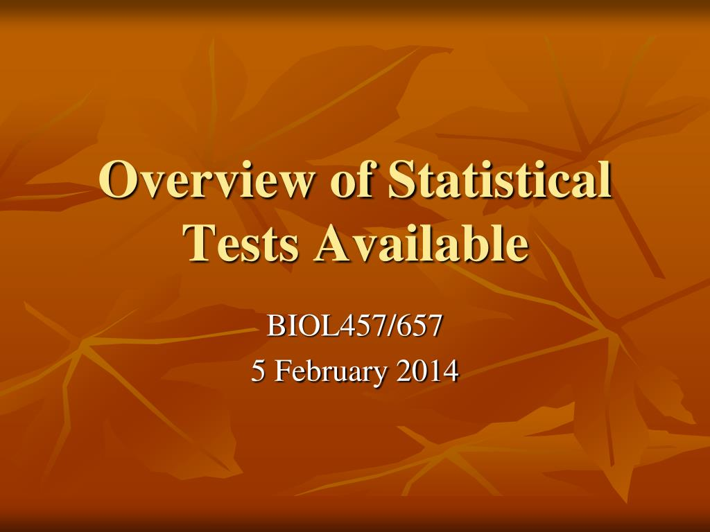 Overview of Statistical Tests Available