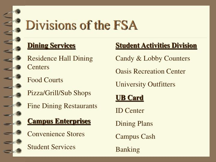 Divisions of the fsa