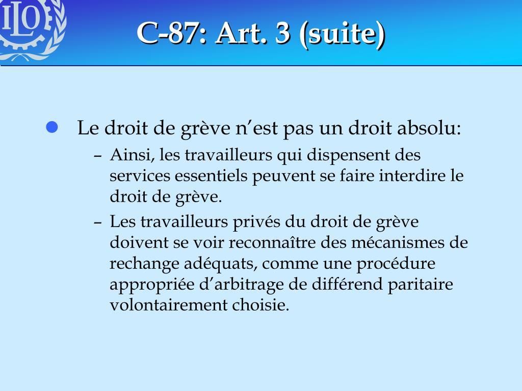 C-87: Art. 3 (suite)