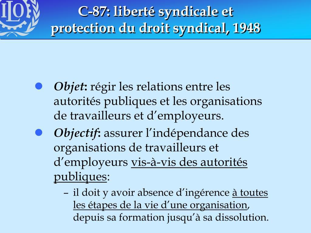 C-87: liberté syndicale et