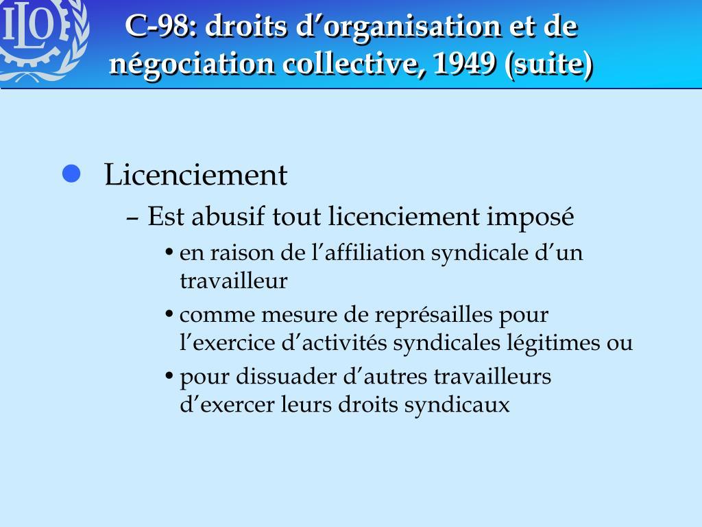 C-98: droits d'organisation et de négociation collective, 1949 (suite)