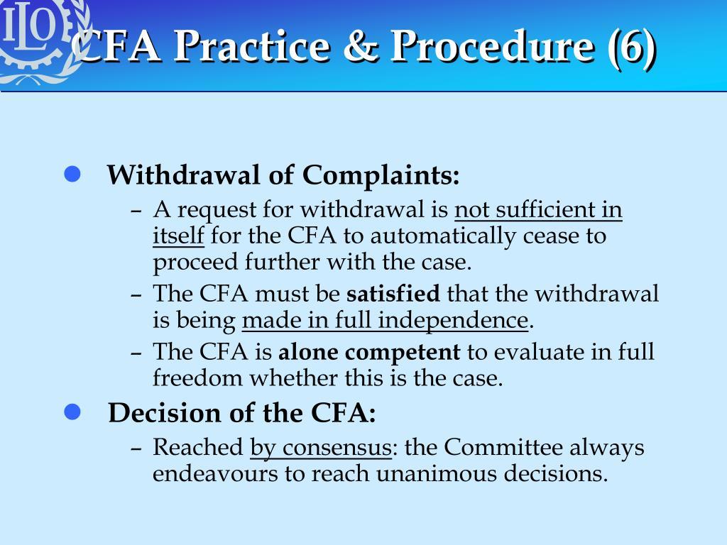 CFA Practice & Procedure (6)