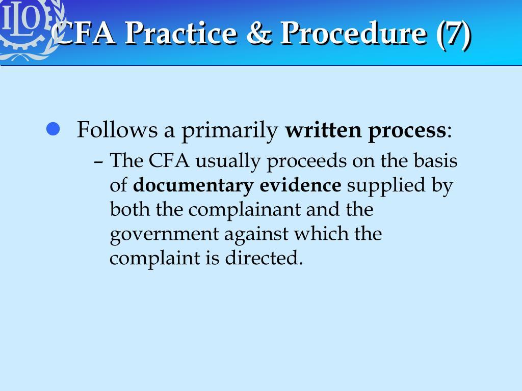 CFA Practice & Procedure (7)