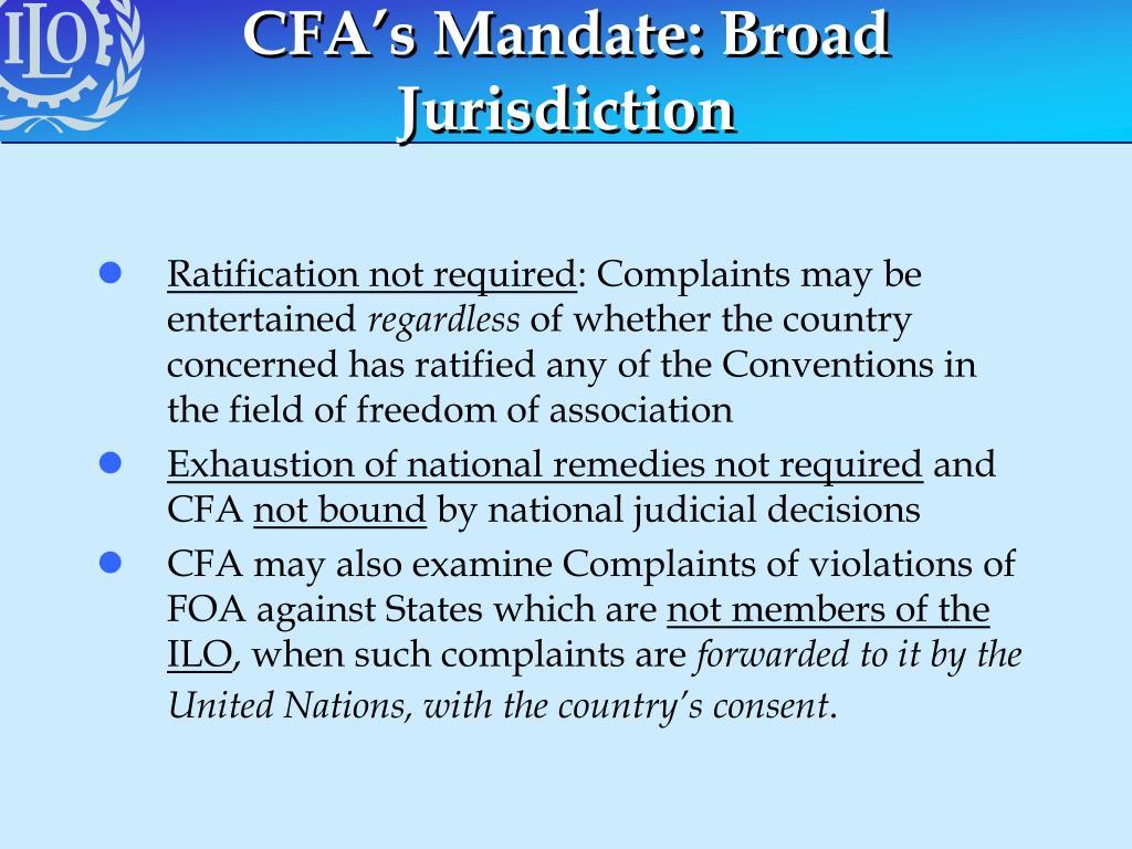 CFA's Mandate: Broad Jurisdiction