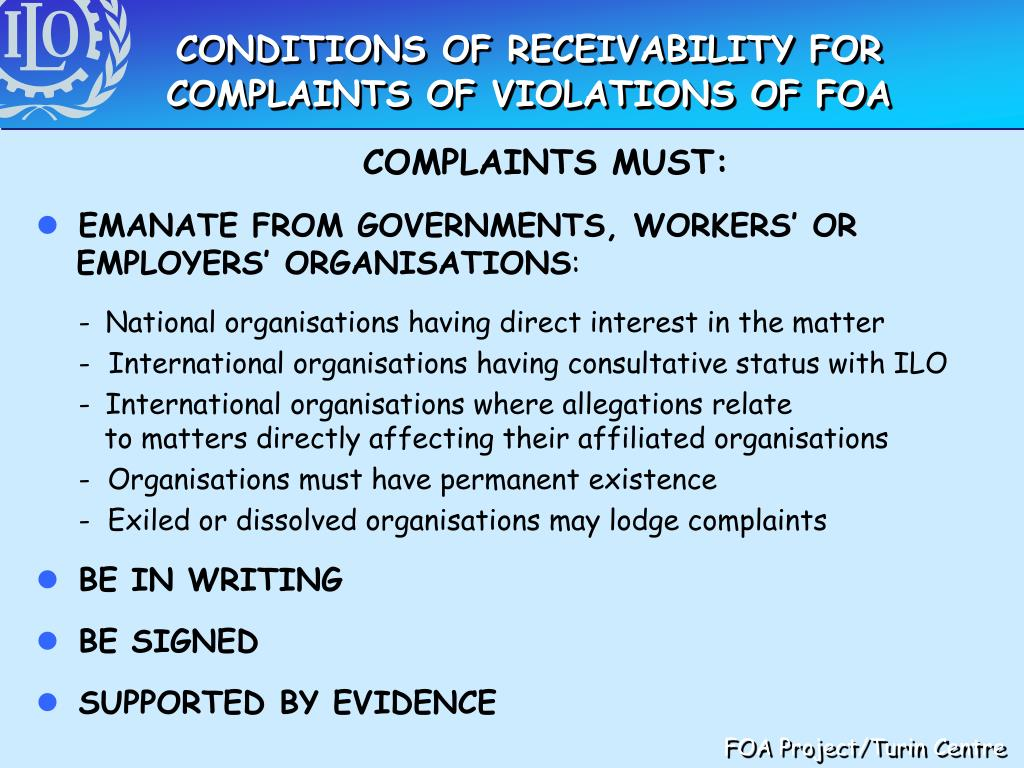 CONDITIONS OF RECEIVABILITY FOR