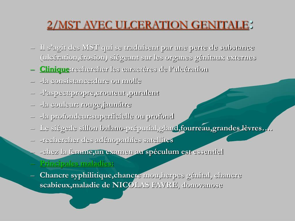 2/MST AVEC ULCERATION GENITALE