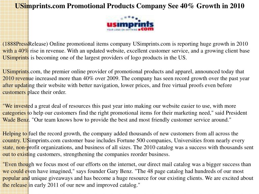 USimprints.com Promotional Products Company See 40% Growth in 2010