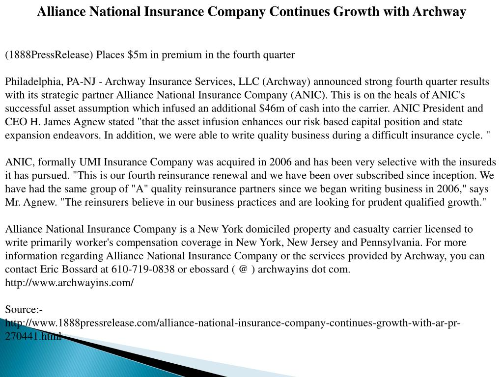 Alliance National Insurance Company Continues Growth with Archway
