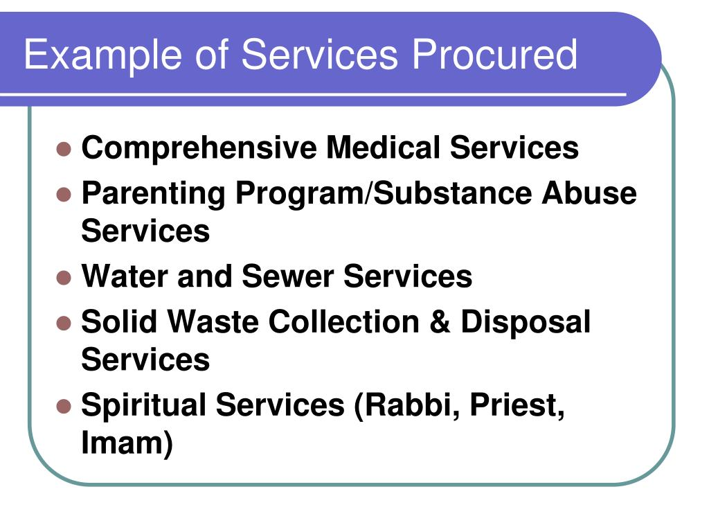 Example of Services Procured