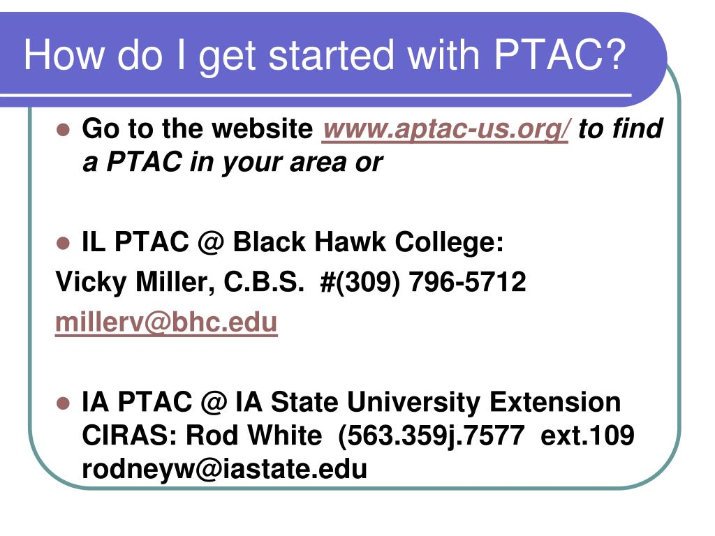 How do I get started with PTAC?