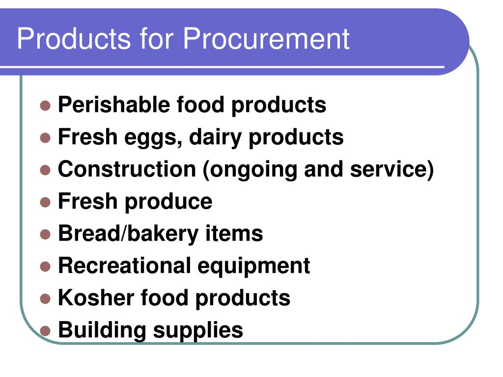 Products for Procurement