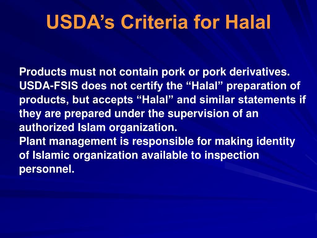 USDA's Criteria for Halal