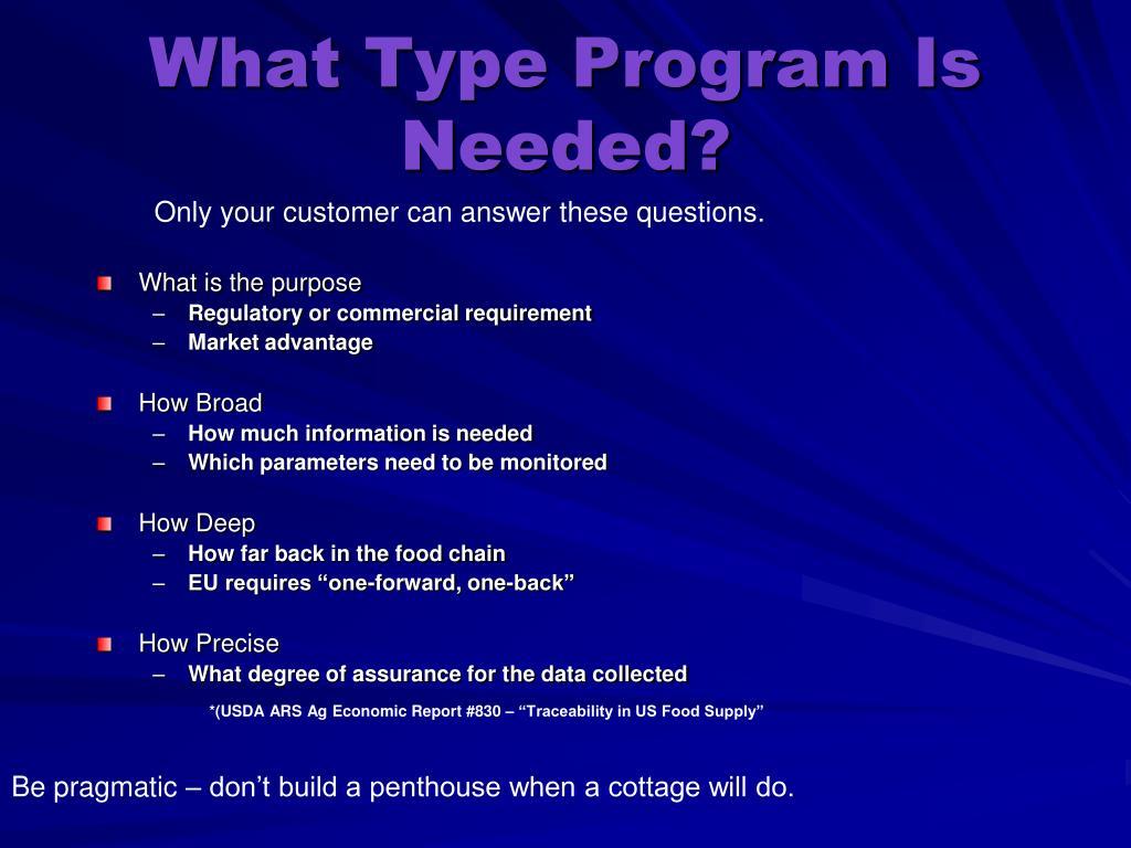 What Type Program Is Needed?