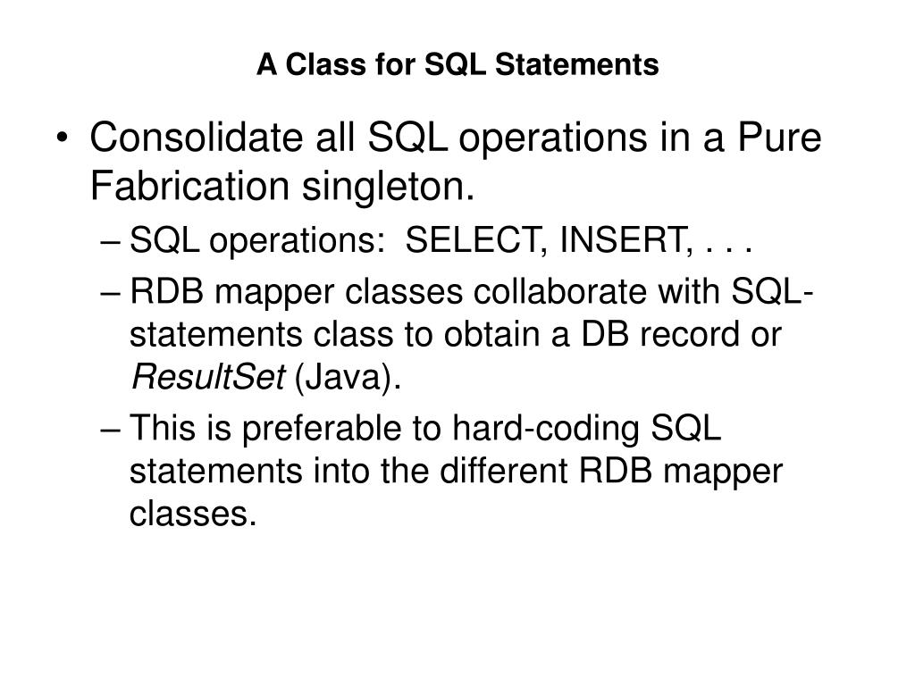 A Class for SQL Statements