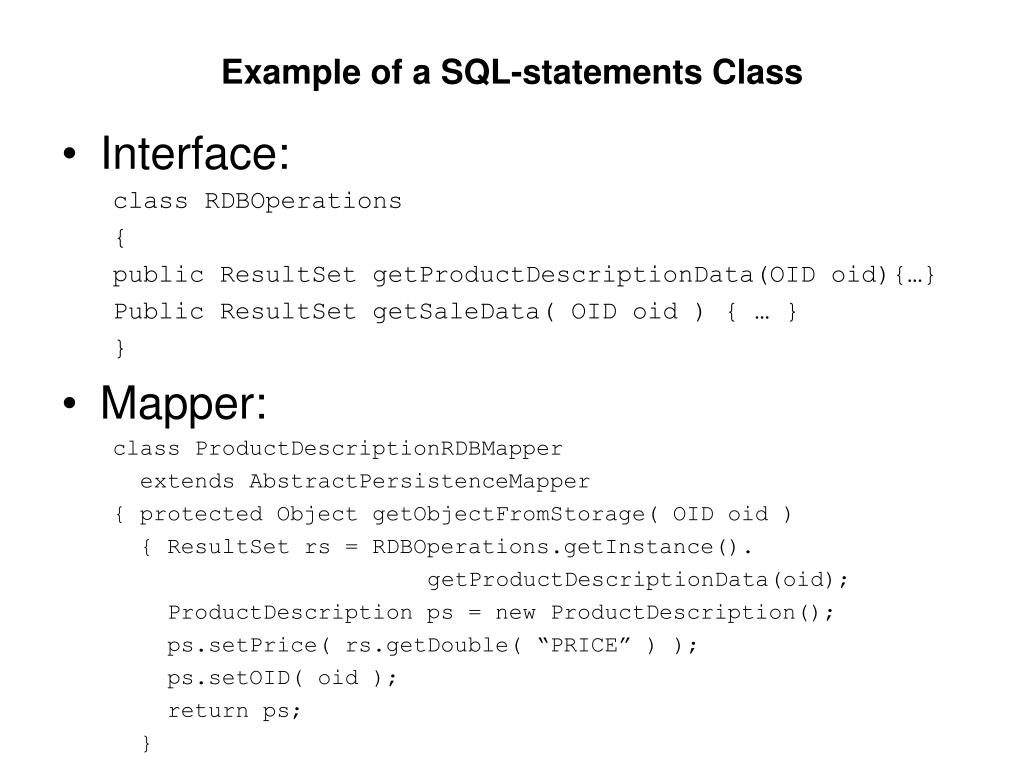 Example of a SQL-statements Class