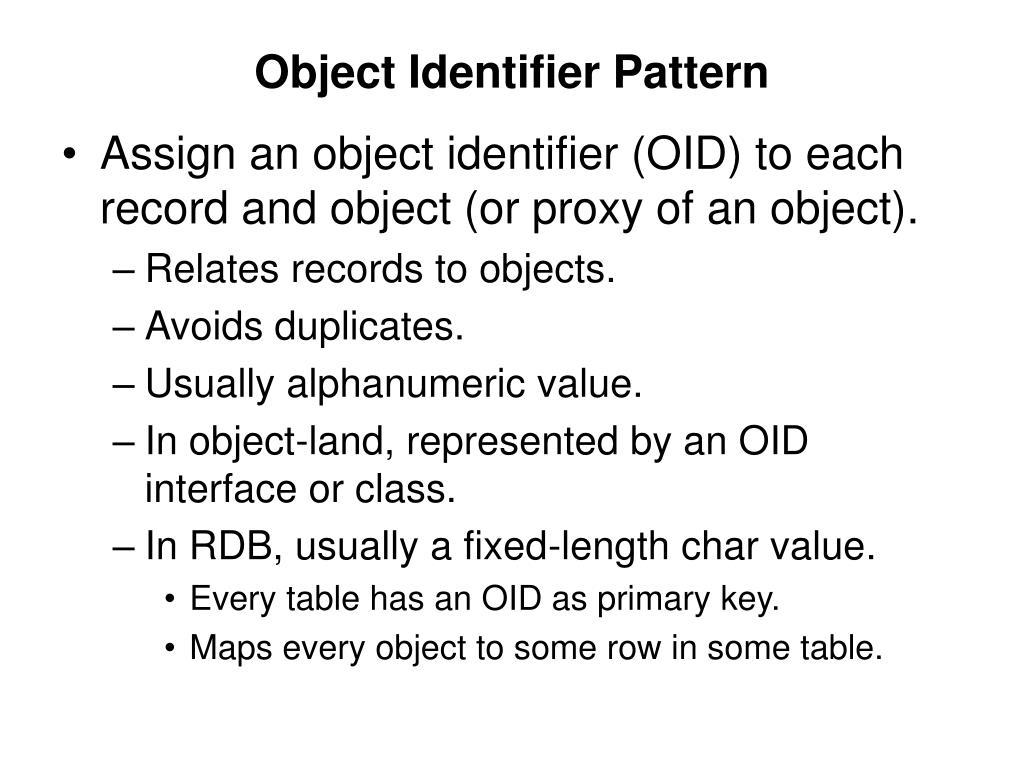 Object Identifier Pattern