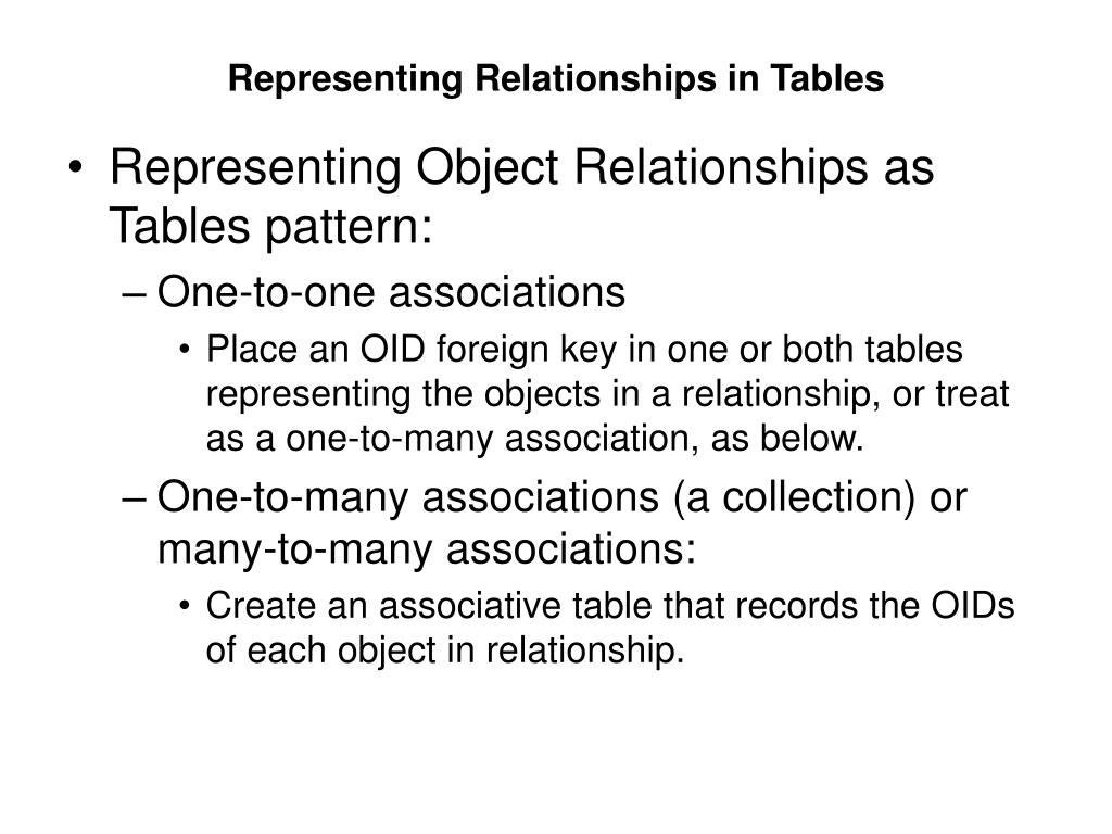 Representing Relationships in Tables